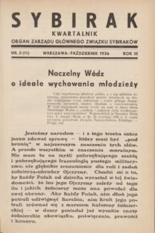 Sybirak : organ Zarządu Głównego Związku Sybiraków.R.3, nr 3 (październik 1936) = nr 11