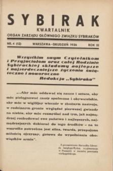 Sybirak : organ Zarządu Głównego Związku Sybiraków.R.3, nr 4 (grudzień 1936) = nr 12