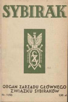 Sybirak : organ Zarządu Głównego Związku Sybiraków.R.4, nr 1 (czerwiec 1937) = nr 13