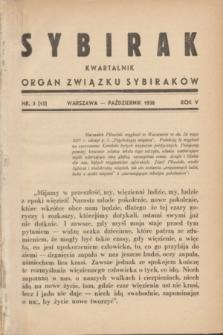Sybirak : organ Związku Sybiraków.R.5, nr 3 (październik 1938) = nr 15