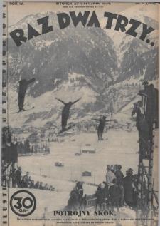 Raz, Dwa, Trzy : ilustrowany kuryer sportowy. 1934, nr4