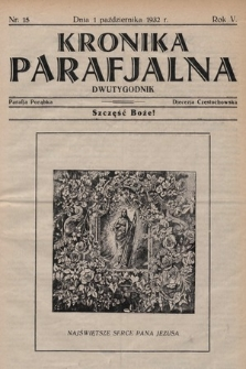 Kronika Parafjalna : dwutygodnik. 1932, nr15 |PDF|