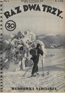 Raz, Dwa, Trzy : ilustrowany kuryer sportowy. 1935, nr5