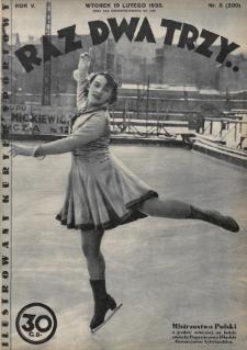 Raz, Dwa, Trzy : ilustrowany kuryer sportowy. 1935, nr8