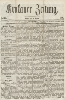 Krakauer Zeitung.Jg.3, Nr. 225 (3 October 1859) + dod.