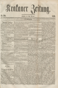 Krakauer Zeitung.Jg.3, Nr. 236 (15 October 1859)