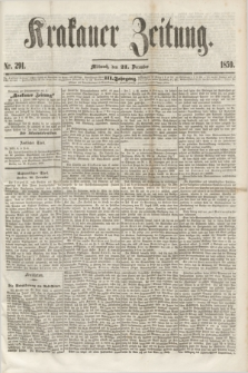 Krakauer Zeitung.Jg.3, Nr. 291 (21 Dezember 1859)