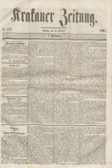Krakauer Zeitung.Jg.5, Nr. 225 (1 October 1861)