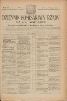 Dziennik Komisarjatu Rządu na M. St. Warszawę.R.2, № 251 (7 listopada 1921) = № 378