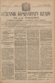 Dziennik Komisarjatu Rządu na M. St. Warszawę.R.4, № 34 (12 lutego 1923) = № 659