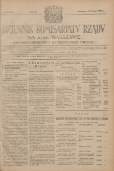 Dziennik Komisarjatu Rządu na M. St. Warszawę.R.4, № 40 (19 lutego 1923) = № 665