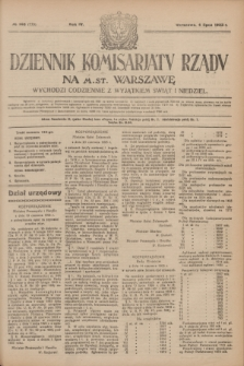 Dziennik Komisarjatu Rządu na M. St. Warszawę.R.4, № 146 (4 lipca 1923) = № 770