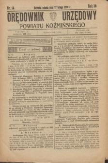Orędownik Urzędowy Powiatu Koźmińskiego. R.36, nr 14 (17 lutego 1923)
