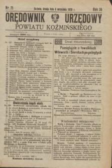 Orędownik Urzędowy Powiatu Koźmińskiego. R.36, nr 71 (5 września 1923)