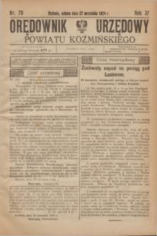 Orędownik Urzędowy Powiatu Koźmińskiego. R.37, nr 78 (27 września 1924)