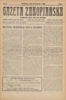 Gazeta Zakopiańska.R.1, nr 7 (15 sierpnia 1921)