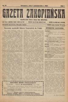 Gazeta Zakopiańska.R.1, nr 10 (1 października 1921)