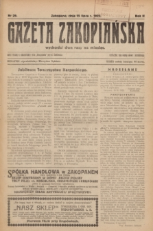 Gazeta Zakopiańska.R.2, Nr 29 (15 lipca 1922)