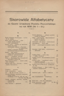 Skorowidz Alfabetyczny do Gazety Urzędowej Powiatu Pszczyńskiego na rok 1936