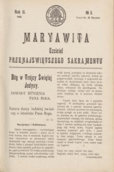 Maryawita : czciciel Przenajświętszego Sakramentu. R.2, № 5 (30 stycznia 1908)