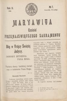 Maryawita : czciciel Przenajświętszego Sakramentu. R.2, № 7 (13 lutego 1908)
