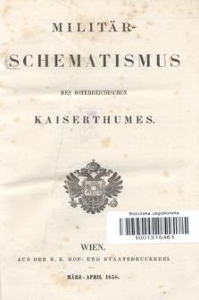 Militär-Schematismus des Österreichischen Kaiserthumes. 1858