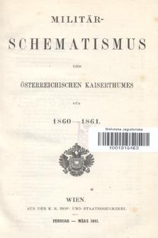 Militär-Schematismus des Österreichischen Kaiserthumes für 1860-1861