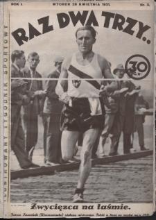 Raz, Dwa, Trzy : ilustrowany tygodnik sportowy. 1931, nr2