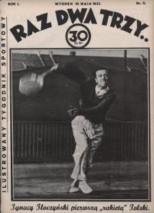 Raz, Dwa, Trzy : ilustrowany tygodnik sportowy. 1931, nr5