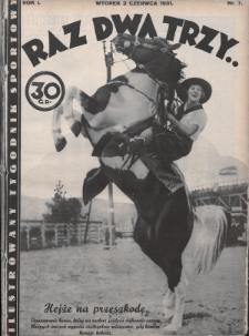Raz, Dwa, Trzy : ilustrowany tygodnik sportowy. 1931, nr7