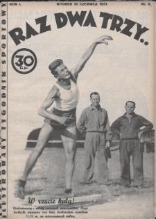 Raz, Dwa, Trzy : ilustrowany tygodnik sportowy. 1931, nr9