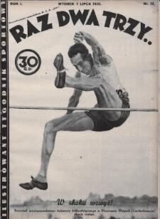 Raz, Dwa, Trzy : ilustrowany tygodnik sportowy. 1931, nr12