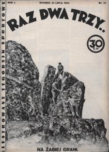 Raz, Dwa, Trzy : ilustrowany tygodnik sportowy. 1931, nr14