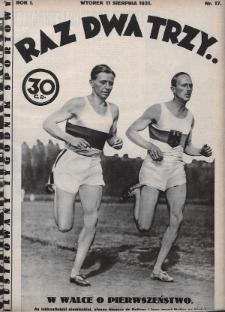 Raz, Dwa, Trzy : ilustrowany tygodnik sportowy. 1931, nr17