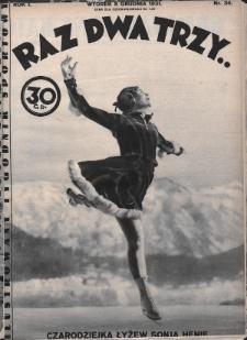 Raz, Dwa, Trzy : ilustrowany tygodnik sportowy. 1931, nr34