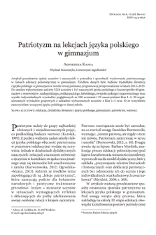 Lower secondary Polish language classes in the context of patriotism
