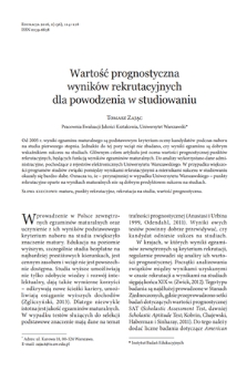 Predictive validity of admission points from results of the Matura exam. The University of Warsaw example