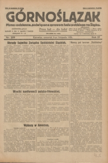 Górnoślązak : pismo codzienne, poświęcone sprawom ludu polskiego na Śląsku.R.27, nr 259 (8 listopada 1928) + dod.