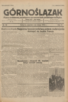 Górnoślązak : pismo codzienne, poświęcone sprawom ludu polskiego na Śląsku.R.31, nr 28 (4 lutego 1932)