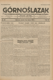 Górnoślązak : pismo codzienne, poświęcone sprawom ludu polskiego na Śląsku.R.31, nr 32 (9 lutego 1932)