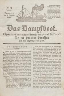 Das Dampfboot : allgemeines humoristisches Unterhaltungs- und Volksblatt für die Provinz Preussen und die angrenzenden Orte. Jg.8, № 2 (4 Januar 1838) + dod.