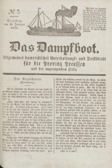 Das Dampfboot : allgemeines humoristisches Unterhaltungs- und Volksblatt für die Provinz Preussen und die angrenzenden Orte. Jg.8, № 7 (16 Januar 1838) + dod.