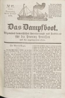 Das Dampfboot : allgemeines humoristisches Unterhaltungs- und Volksblatt für die Provinz Preussen und die angrenzenden Orte. Jg.8, № 17 (8 Februar 1838) + dod.