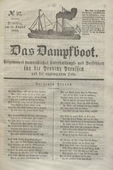 Das Dampfboot : allgemeines humoristisches Unterhaltungs- und Volksblatt für die Provinz Preussen und die angrenzenden Orte. Jg.8, № 97 (14 August 1838) + dod.