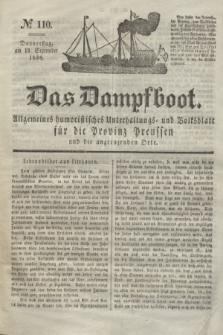 Das Dampfboot : allgemeines humoristisches Unterhaltungs- und Volksblatt für die Provinz Preussen und die angrenzenden Orte. Jg.8, № 110 (13 September 1838) + dod.