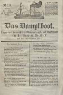 Das Dampfboot : allgemeines humoristisches Unterhaltungs- und Volksblatt für die Provinz Preussen und die angrenzenden Orte. Jg.8, № 115 (25 September 1838) + dod.