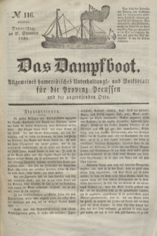 Das Dampfboot : allgemeines humoristisches Unterhaltungs- und Volksblatt für die Provinz Preussen und die angrenzenden Orte. Jg.8, № 116 (27 September 1838) + dod.