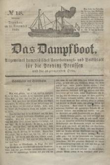 Das Dampfboot : allgemeines humoristisches Unterhaltungs- und Volksblatt für die Provinz Preussen und die angrenzenden Orte. Jg.8, № 148 (11 December 1838) + dod.