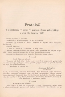 [Kadencja V, sesja V, pos.9] Protokoły z V. Sesyi V. Peryodu Sejmu Krajowego Królestwa Galicyi i Lodomeryi wraz z Wielkiem Księstwem Krakowskiem w roku 1887/8. Protokół9