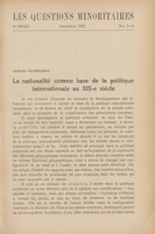 Les Questions Minoritaires. An.3, No 3/4 (Décembre 1930)